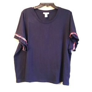 Fringe Detail, Slightly Cropped Tee in Navy - 3X